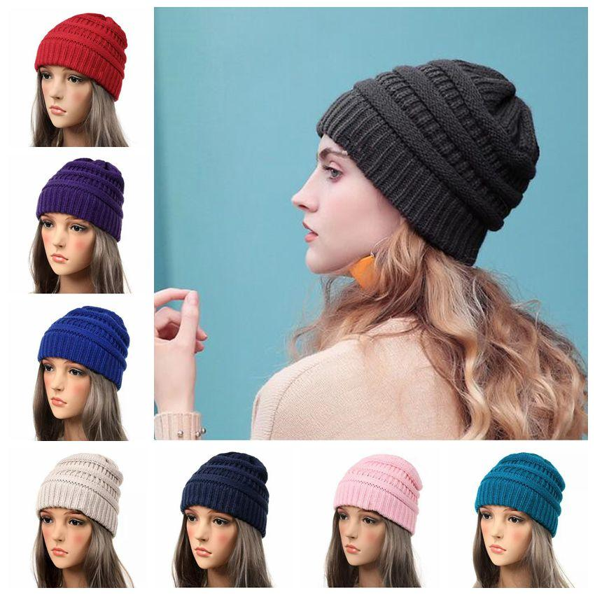 Adults Knitted Hats Winter Knitted Slouchy Skull Caps Stretchy ... b22a75c6d5ac