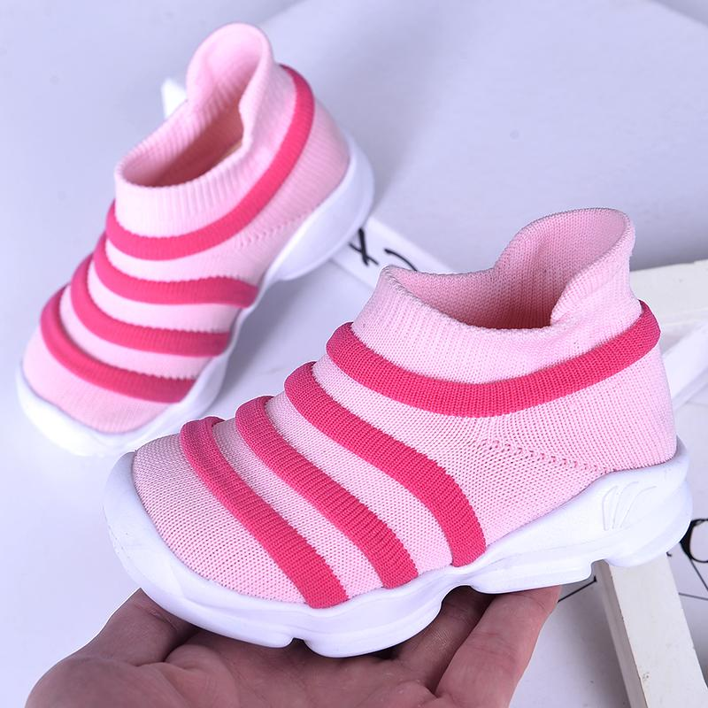 7d9beded4fdb1 Toddler Shoes Boy Girls Pink Red Baby Socks Shoes Striped Kids Unisex  Breathable Comfortable Walking Sneakers for Children