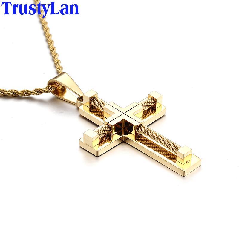 3659db6b412f Compre Ashion Jewelry Necklace TrustyLan Classic Negro Plata Oro Color Acero  Inoxidable Cruz Collares Colgantes Hombres Jewley Joyas Al Por Mayor .