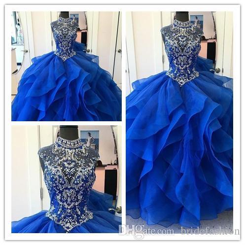 Amazing! Shiny Crystal Neck Prom Dress Blue Organza Quinceanera ... fb466f47464c