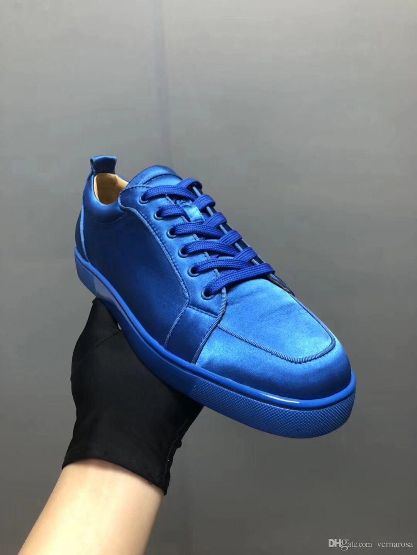 2b45f5a99b753c Elegant Blue Silk Leather Sneakers Women s Shoes Men s Red Bottom ...