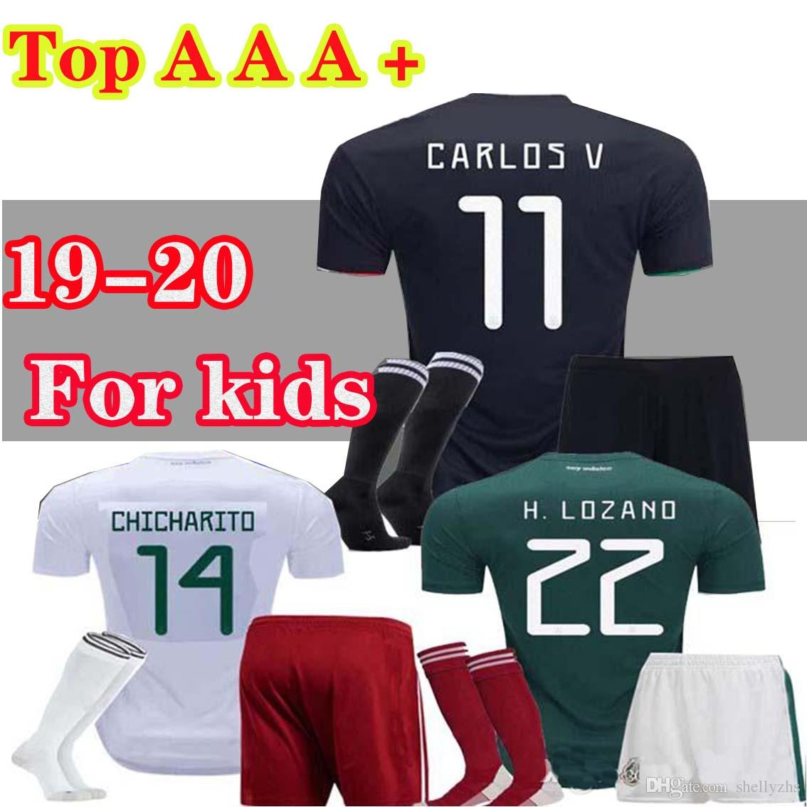 d6bc75ed4 Boys 2019 Gold Cup Mexico Soccer Jersey Kids Kit Black Mexico Home ...