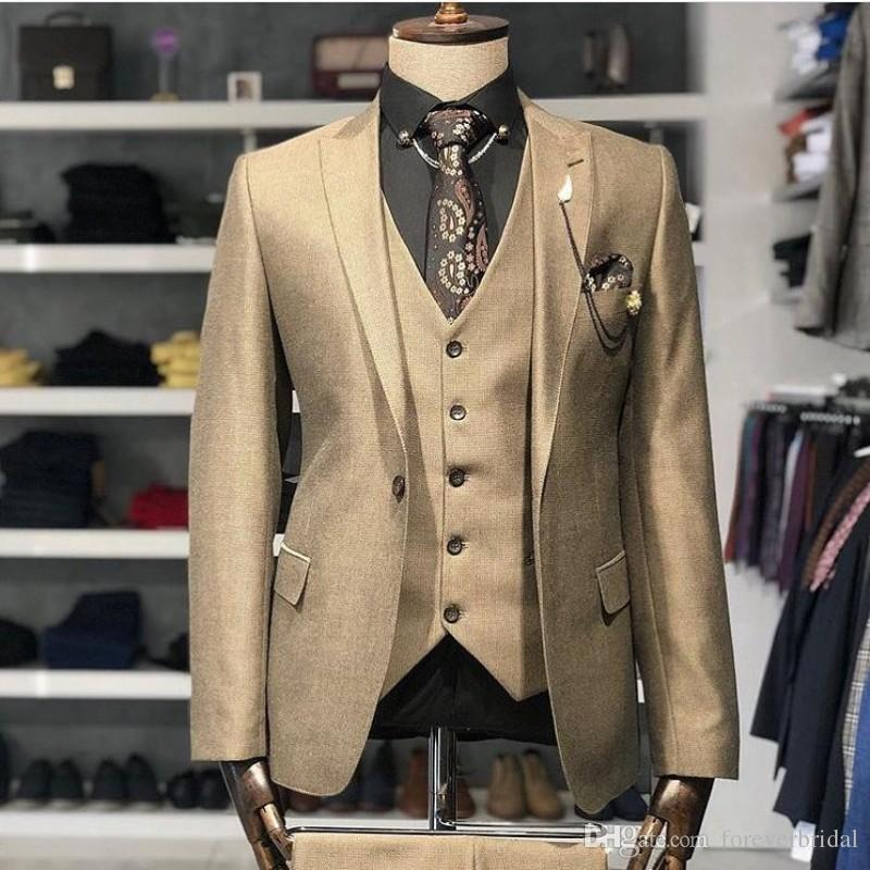 Shiny Gold Mens Suits Slim Fit One Button Prom Party Man Wear Handsome Designer Groom Wedding Tuxedos