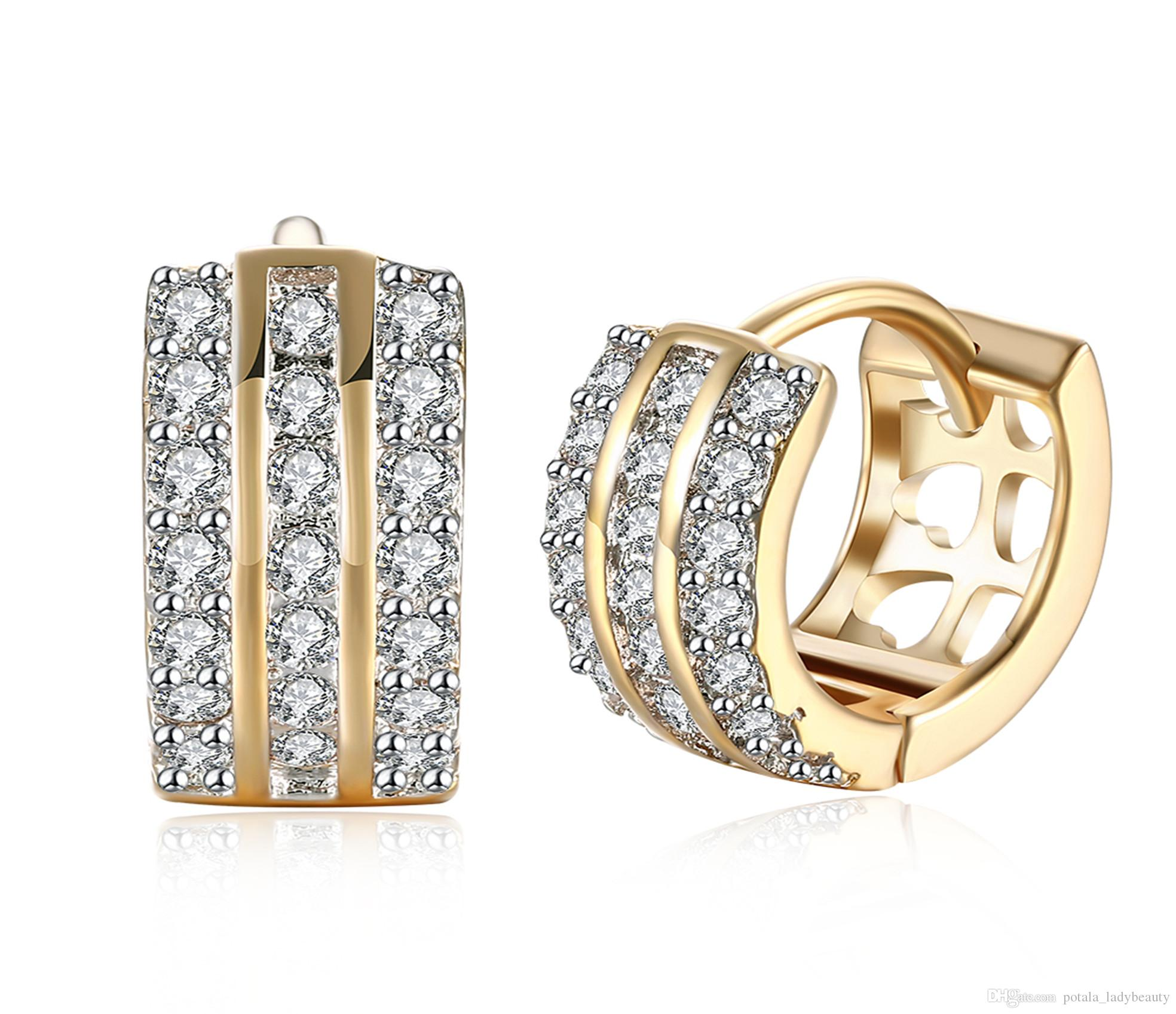 0260739f6 2019 Zircon Earrings Three Rows Pattern Clip On And Screw Back Earring  Accessories Romantic Thanksgiving Day Unique Design Jewelry Gift POTALA142  From ...