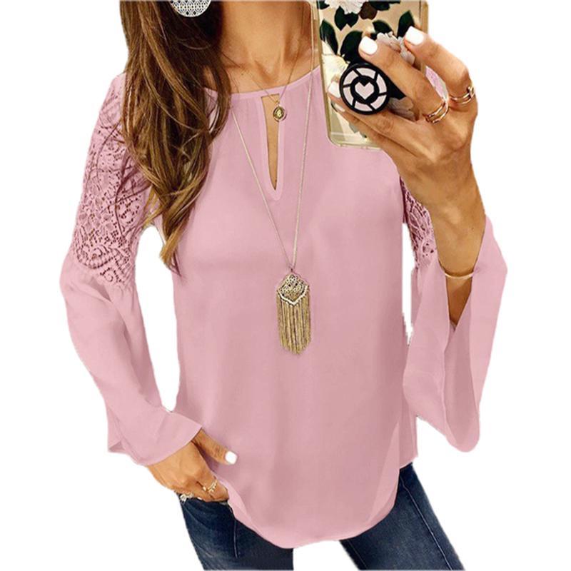Großhandel Blusas Mujer De Moda 2019 Mode Spitze Aufflackernhülse