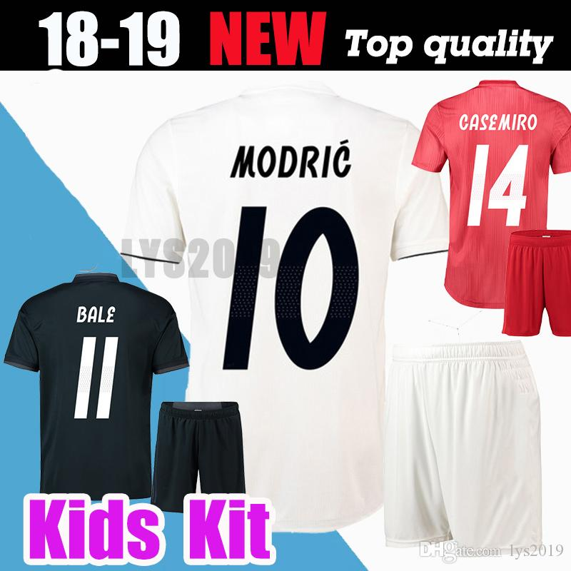 2a1d9cf6b43 Kids kit +socks Real Madrid 2019 MARIANO ASENSIO MODRIC soccer jersey 18 19  RAMOS BALE ISCO Camiseta Boy football shirts Third red Jerseys