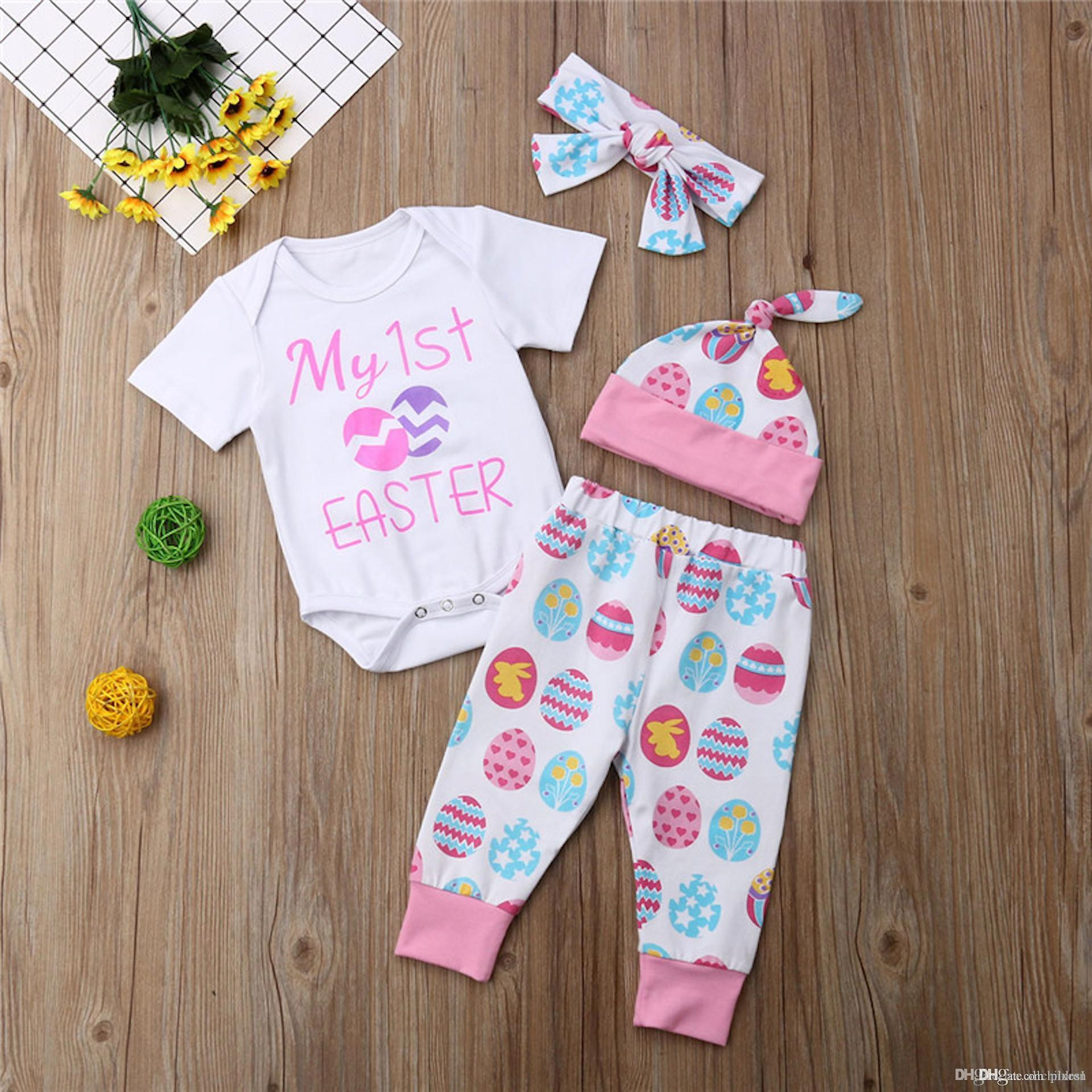 8ce0e47ee135 2019 Easter Newborn Baby Girls Cotton Short Sleeve Romper Colorful Eggs  Pants+Hat Outfits Set Kids Clothes From Pixes1