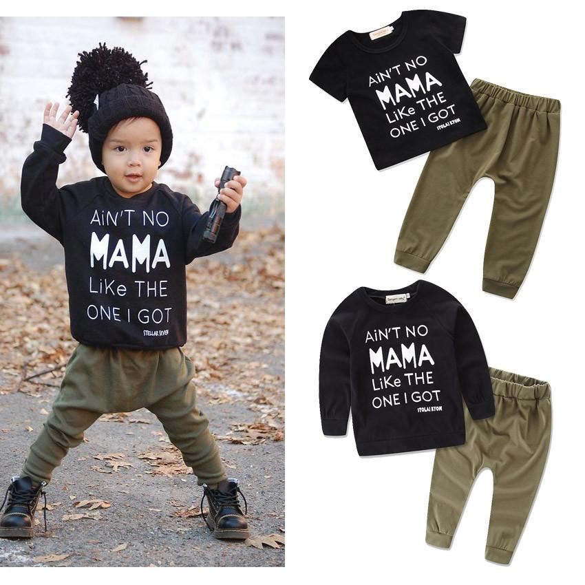 5f899fd568b5 Kid Baby Boys Letter Print Tops Pants Trousers 2-piece Set Outfits ...