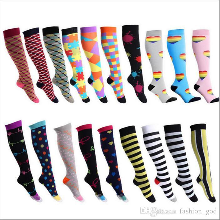 1fd121928 2019 Socks Women Compression Outdoor Socks Sports Running Stockings  Marathon Riding Knee High Socks Elastic Floral Camo Striped Polka Dot B5039  From ...