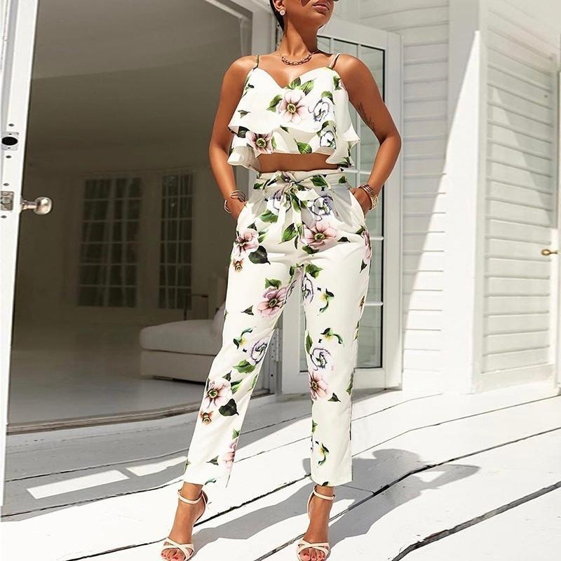 82569dedd041a Satın Al Kadın Iki Parçalı Kıyafetler 2018 Yaz Suit Renkli Tropikal Baskı Soğuk  Omuz Mahsul En + Uzun Pantolon Kadın Setleri, $37.78 | DHgate.Com'da