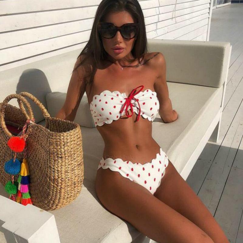 f4beef59d17942 2019 Sexy Bandeau Bikini Set Strapless Ruffle Swimsuit 2019 Women Polka Dot  Brazilian Bikini Swim Wear Suit Maillot De Bain Femme From Lvyou09