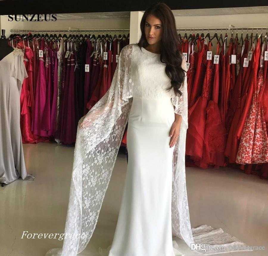 2019 White Sheath Evening Dress Sheath with Lace Wraps Keyhole Back Long Formal Holiday Wear Prom Party Gown Custom Made Plus Size