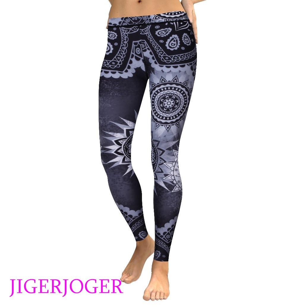 JIGERJOGER Winter High waist Dark grey mandala flowers printed Women's Yoga leggings activewear free drop shipping leggings pant