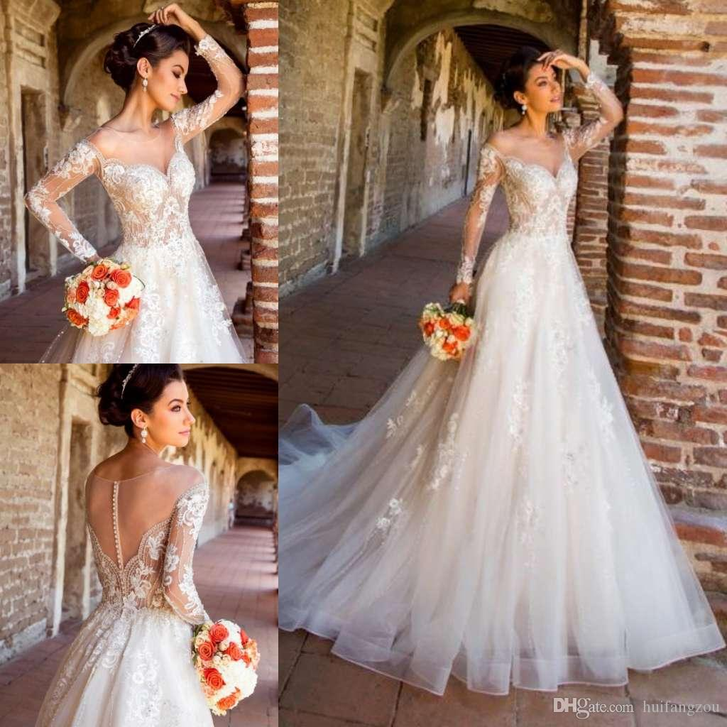 7a9a8643e15c8 Discount Vintage Long Sleeve Wedding Dresses 2019 Kitty Chen Sheer Neck Lace  Appliques Beaded Tulle Beach Wedding Dress Custom Made Vestido De Novia ...