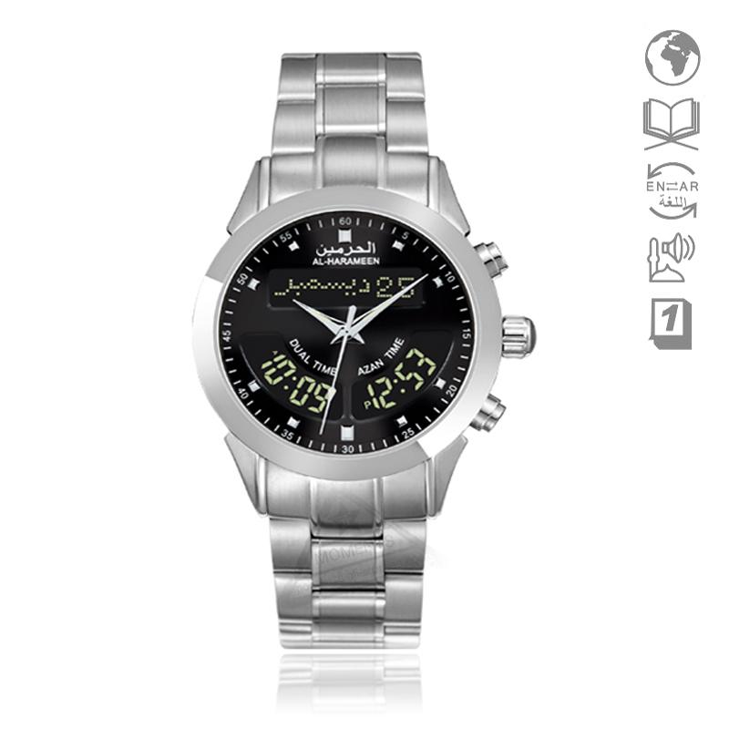 Montre islamique avec heure Azan Montre Harameen 6102 Alfajr Montre WA-10  32mm Adhan Horloge Athan Montre-bracelet avec signet Coran relogio