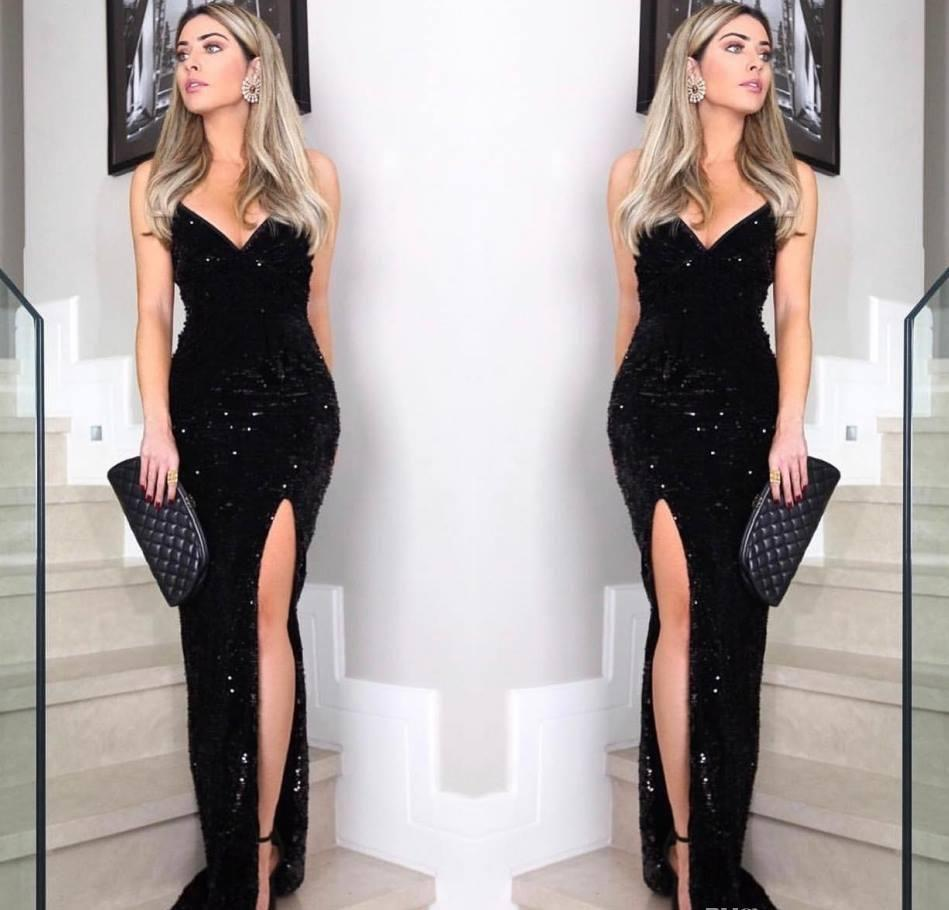 4d09a27754b87 2019 Cheap Black Sequins Evening Dress Sexy Sweetheart Split Red Carpet  Holiday Women Wear Formal Party Prom Gown Custom Made Plus Size Buy Evening  Dresses ...