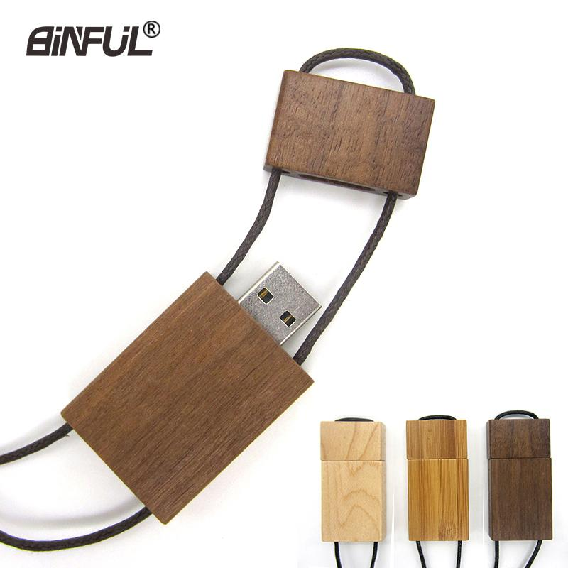 Real Capacity Flash Wooden Pendrive 64gb 32gb 16gb 8gb 4gb Magnet Stick Memory Usb 2.0 Lanyard Pen Drive