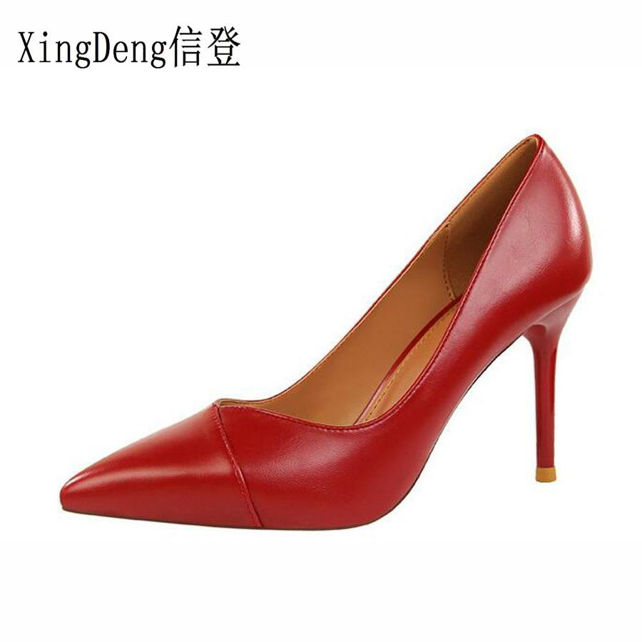 Dress Xingdeng Women Thin Heel Pu Leather High Heels Pumps Shoes Lady Spring Party Dress Stilettos Shoes European Design Pointed Toe