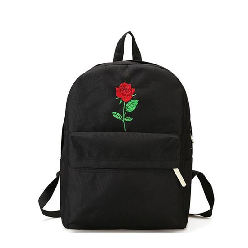 6a6d38b6f373 Men And Women Canvas Rose Flower Embroidery Cute Backpack Student Teenage  Girls School Bags Travel Shoulder Bag Black Rucksack Laptop Backpack  Backpacks For ...