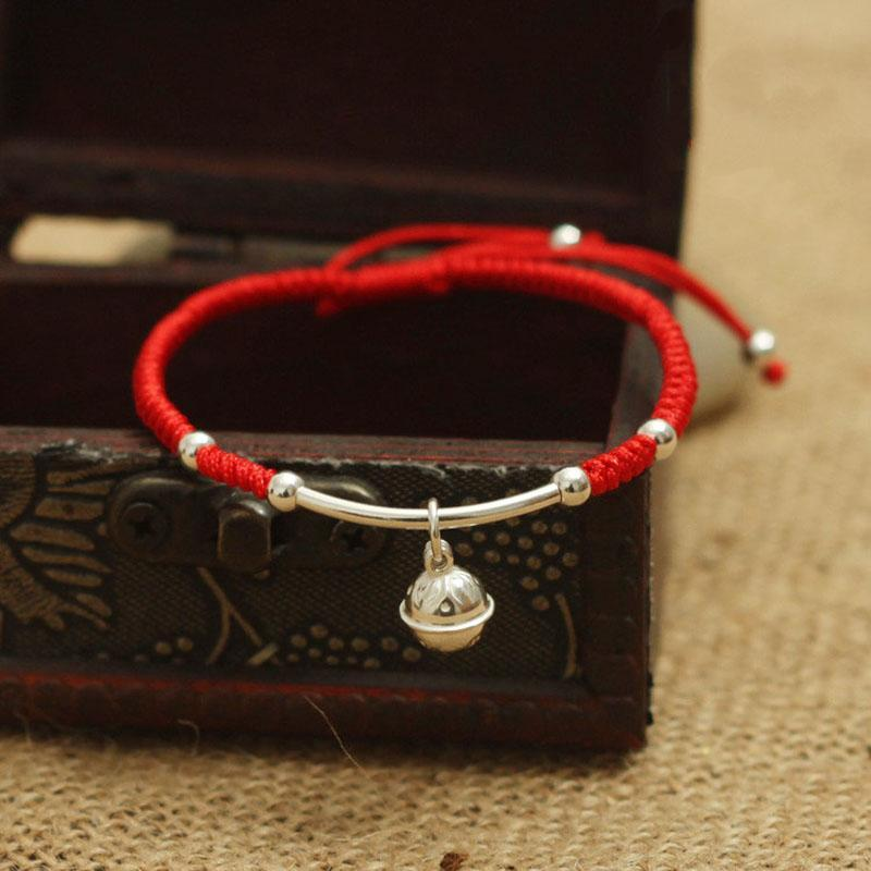 Wholesale-S925 Sterling Silver Bell Lucky Red Rope Shambala Bracelet Handmade Bangle Wax String Amulet High Quality Jewelry
