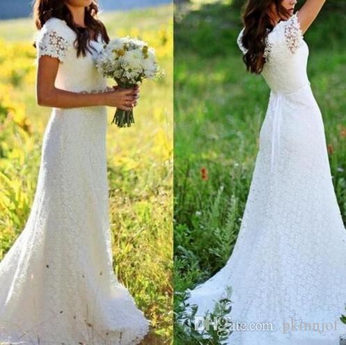 2019 V Neck Full Lace A Line Wedding Dresses Short Sleeves Beaded