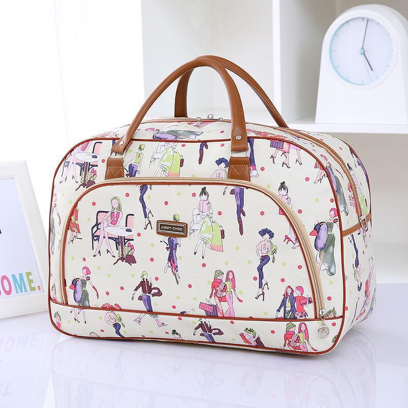 820655e409e5 Women Travel Bags 2018 New Fashion Pu Leather Large Capacity Waterproof  Print Luggage Duffle Bag Casual Travel Bags Backpacks Handbags From Jadavu