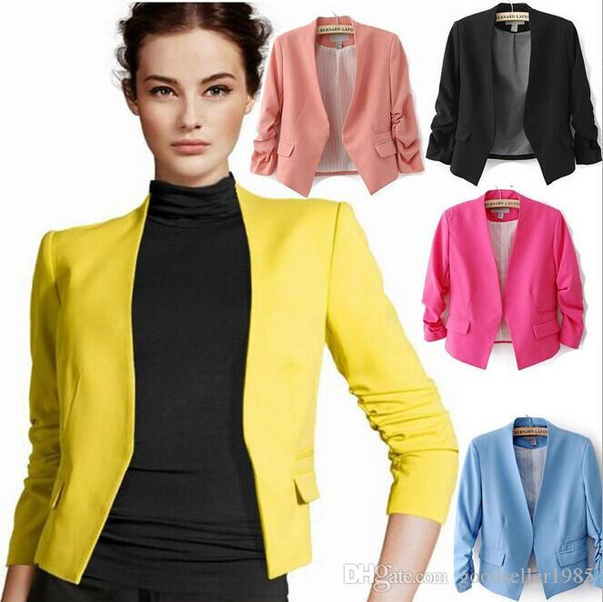 1 pecs Women Blazer Jacket Spring New Solid Color Suit Jackets Slim-Fit Ladies Office Work Coat Cardigan Outerwear Drop Shipping