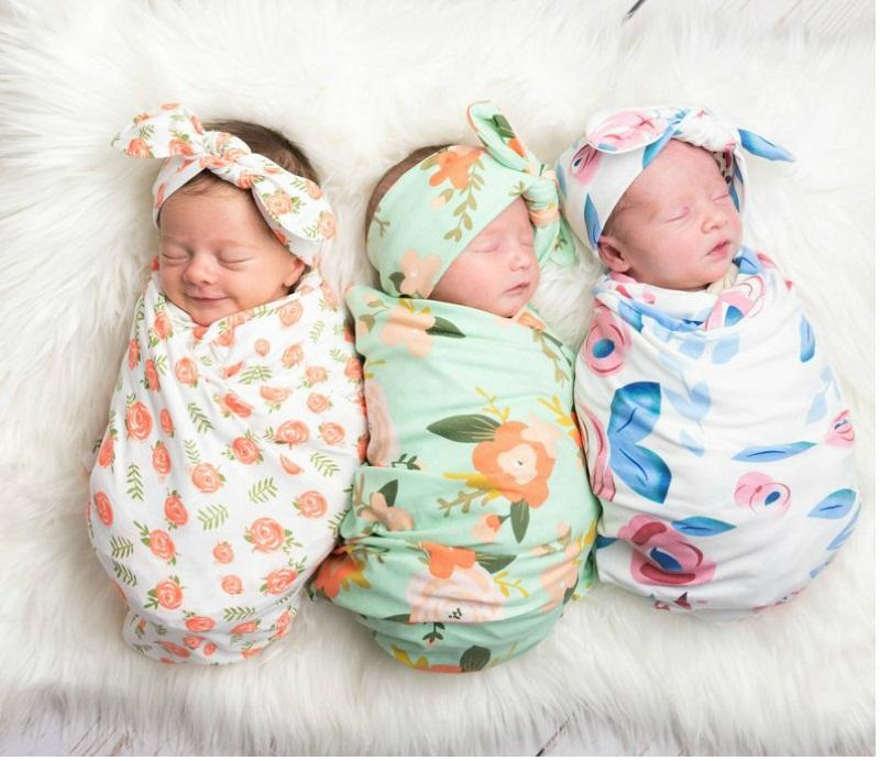 Watercolor Flower Print Swaddle Blankets for Newborn Euro America Hot Sale Baby Bedding Infant Toddlers Stretchy Super Soft Swaddles
