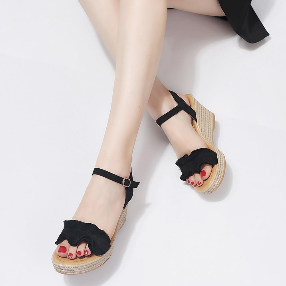 6f16d06b4122 Designer Dress Shoes Youyedian Fashion 2019 Wedges For Women Heels Ruffle Peep  Toe Buckle Strap Sexy Sandals Pumps Cuas Chaussures g30 Ladies Shoes  Loafers ...