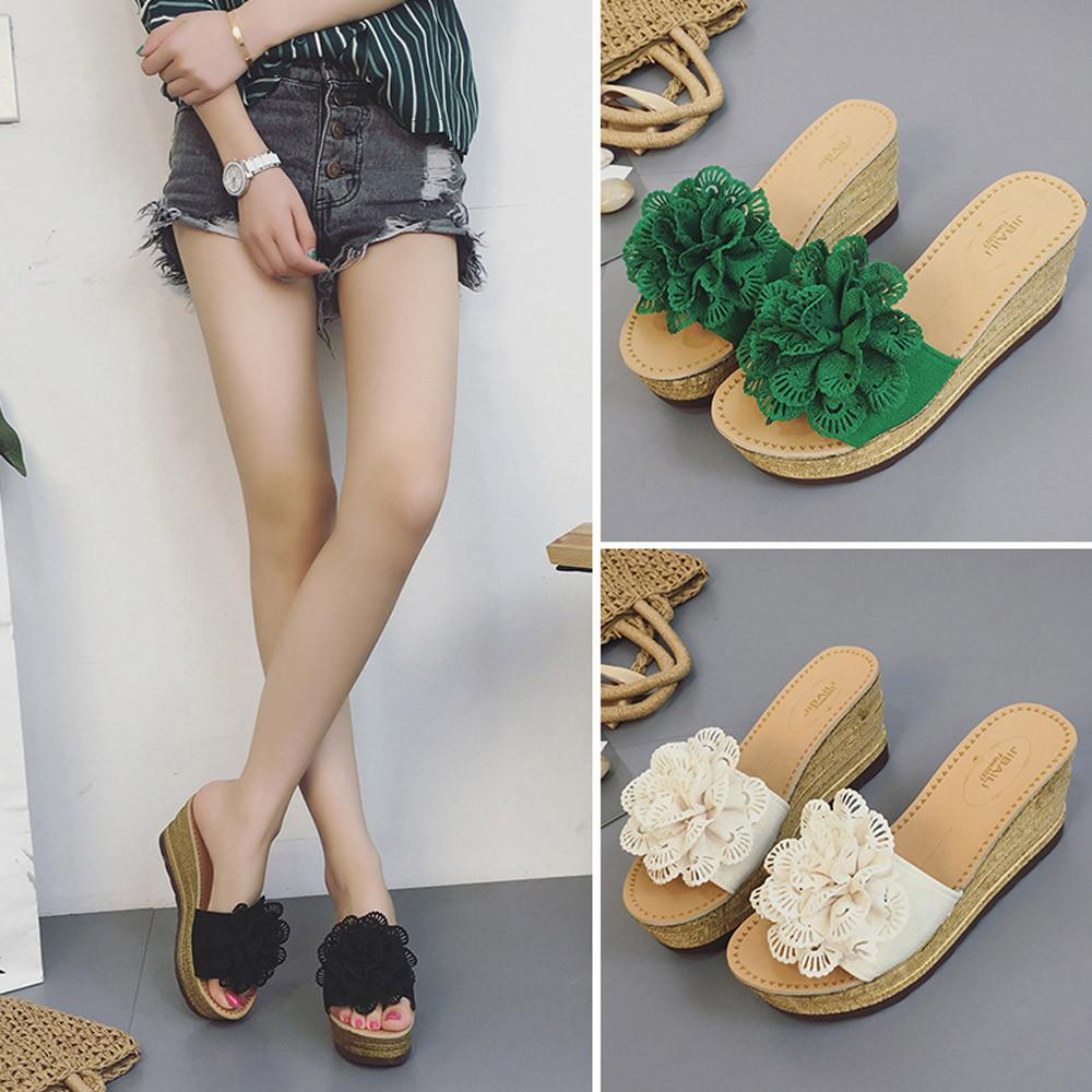 2a36bbd593c70 Summer Floral Women Mules Clogs Wedge Sandals Garden Shoes Handmade Slippers  Jelly Color Casual Beach Sandals Wedge Booties Saltwater Sandals From  Xinjiamei ...