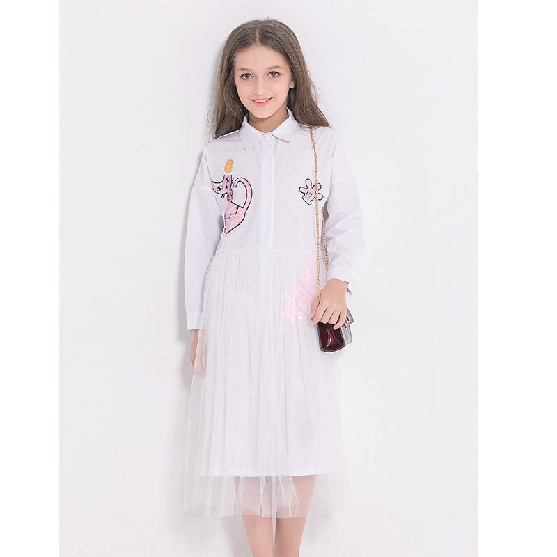 5733328829b17 Spring Dress For Girls Mesh Dresses Cartoon Long Sleeve Dresses Cat  Sequined Kids Summer Clothing For Teenage 6 8 10 12 14 Years Y190516
