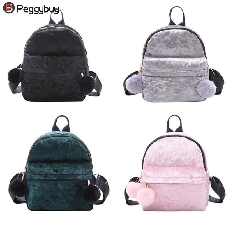 8fdc70b5c6 Mini Velvet Backpack Bag Female Cute Backpack Preppy Style Girls ...
