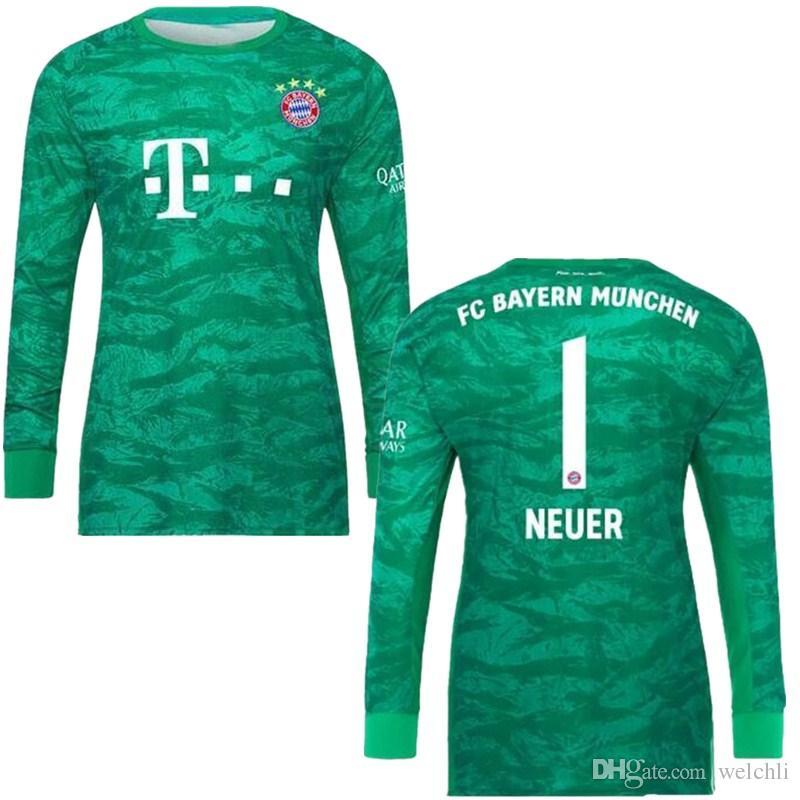 official photos cb8df 8c03f 19 20 Bayern Munich long sleeve soccer Jerseys home red LEWANDOWSKI MULLER  2019 2020 champions league JAMES goalkeeper NEUER football shirts