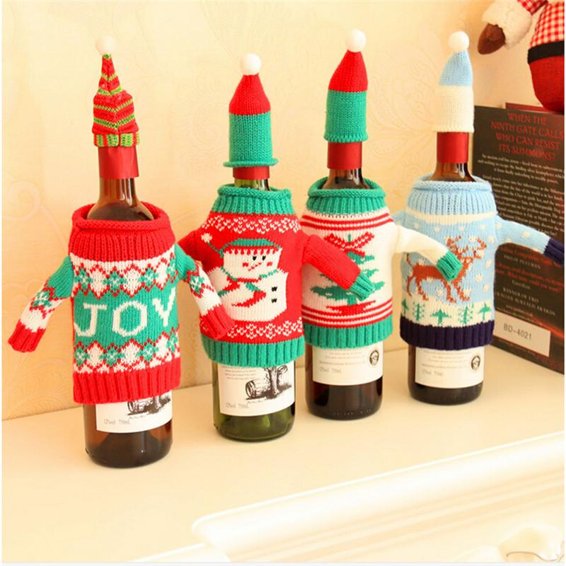 Christmas Snowman Wine Bottle Cover Set Santa Claus Bottle Sweater With Hats Xmas Home Party Ornament