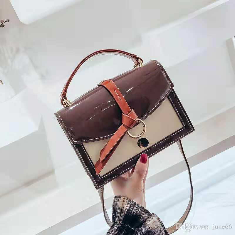 854265e370be Bag Female 2018 on the New Color Patent Leather Wild Small Square ...
