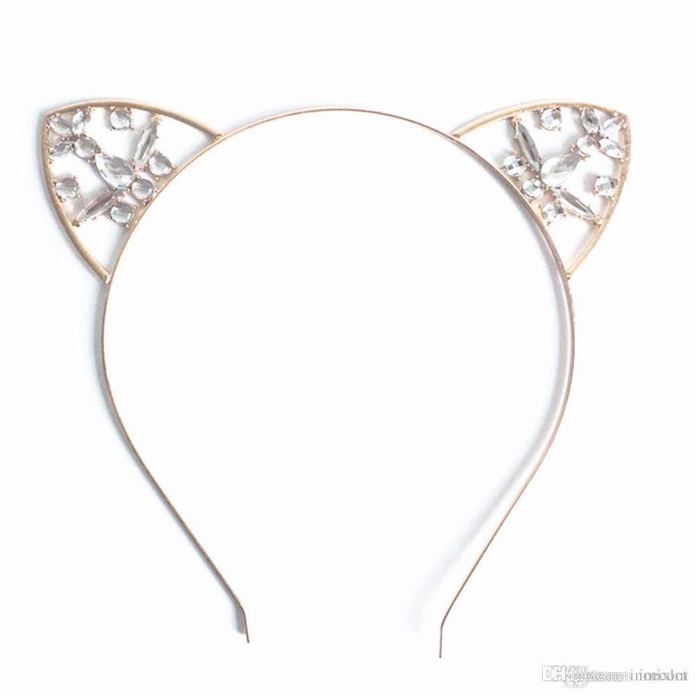 0cbbba0e5afc 2019 New Women Girls Hair Hoop Glitter Crystal Metal Rhinestone Cat Ear  Headband Hairband Costume Party Hair Band Accessories From Inoecom, $5.3 |  DHgate.