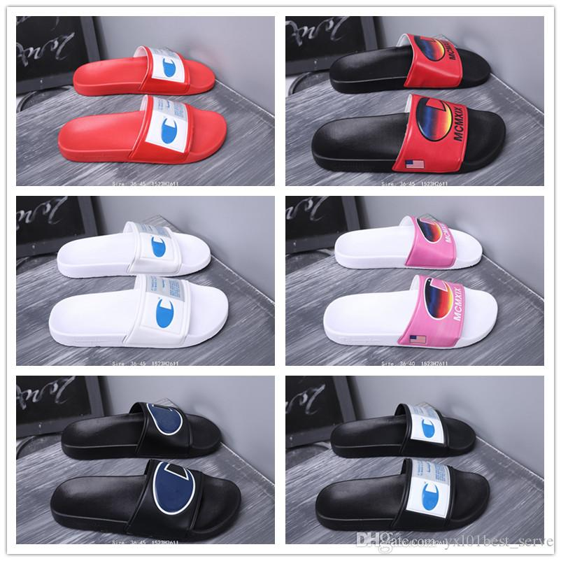 5a6c042fe5a92 2019 Hot Sale Champions Flip Flops For Good Quality Fashion Slippers Men S  Women Summer Beach Slipper Black Red White Casual Sandals 36 45 Birkenstock  ...