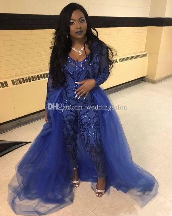 Royal Blue Sequined Jumpsuits Prom Dresses With Detachable Train V Neck Long Sleeves Party Dress Appliqued Tulle Plus Size Evening Gowns