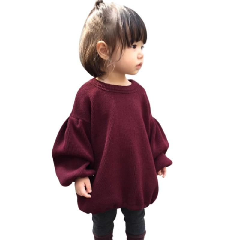 206a9ccae54d6 Acheter Bébé Fille Chandails Tricotés À Manches Longues Chandail Rouge  Solide Vêtements Enfants Pulls Plissés D hiver De  40.82 Du Entent