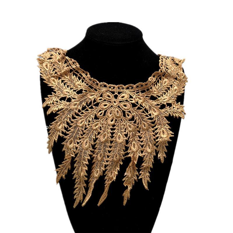 1pcs Lace Collar Lace Fabric Embroidered Neckline Trim Applique Embellishments Vintage Trims Wedding Dress Accessories #XH39-43