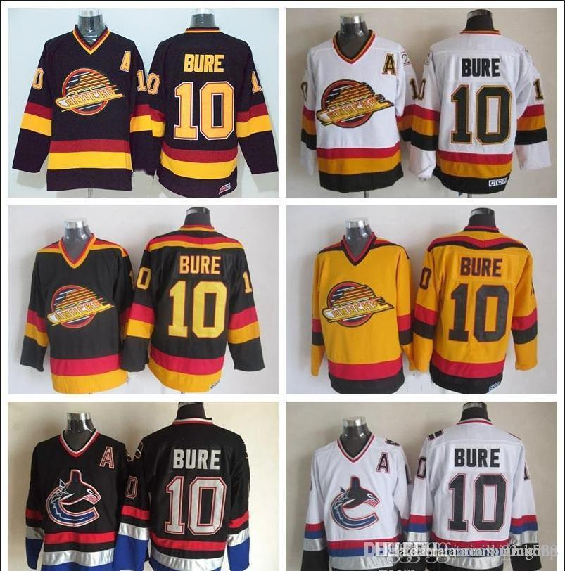 best website 17b47 10d57 Vancouver Canucks #10 Pavel Bure Hockey Jerseys Vintage Classic Black White  Yellow Cheap Mens Pavel Bure Stitched Jersey A Patch
