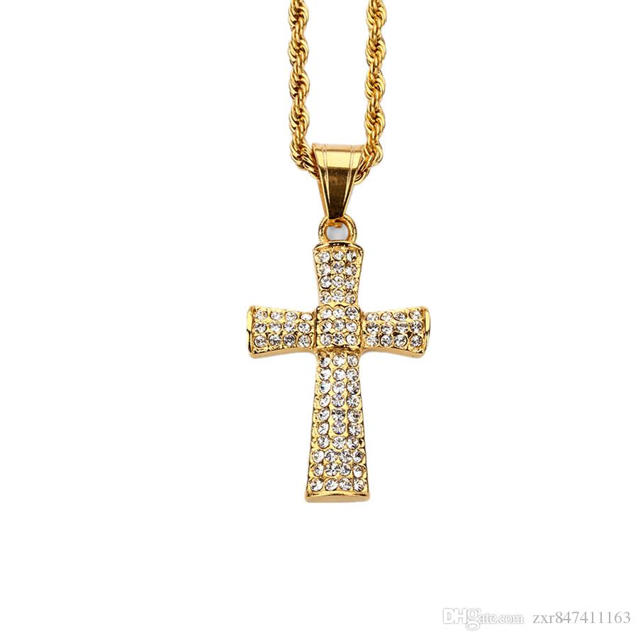 High Quality Fashion Men Hip Hop Gold Cross Necklace Jewelry Rhinestone Stainless Steel Long 60CM Chains Punk Rock Micro Men Pendant For Men