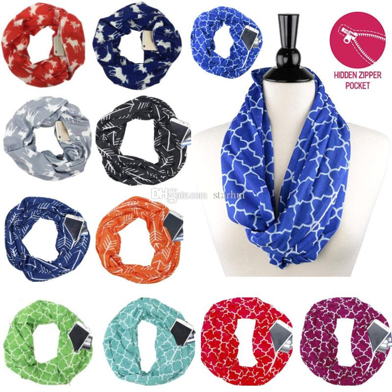f55a007656ac Women Scarf Infinity Scarves With Zipper Pocket Lightweight Arrow Star Elk  Print Ring Scarves Scarfs Storage Bib Christmas Gift WX9-1134