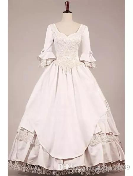 Hippie VICTORIAN WEDDING DRESS 2019 new style Vintage 3/4 long sleeves Wedding Dresses ball gown Lace Bridal Ball Gowns Dresses