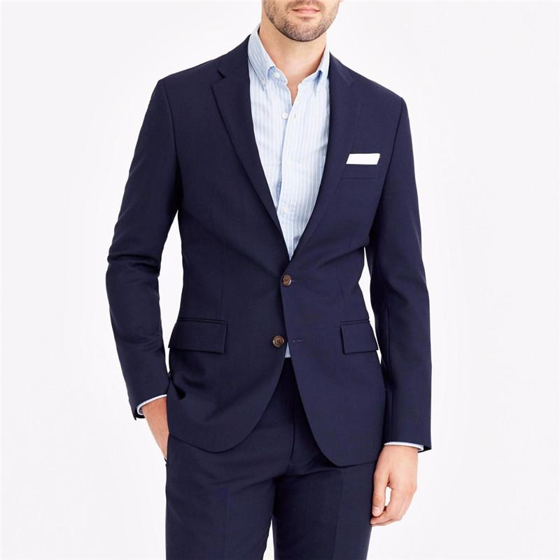 Latest Coat Pant Designs Navy Blue Casual Wedding Suit For Men Notched Lapel Custom Groom Slim Fit Suits 2 Pieces Terno
