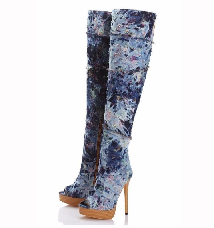 06cc3d3ac16 Mixed Color Retro Hollow Denim Women Long Boots Knee High Chic Peep Toe  Side Zippers Shoes Woman Platform Super High Heels Botas Boot Socks Biker  Boots From ...