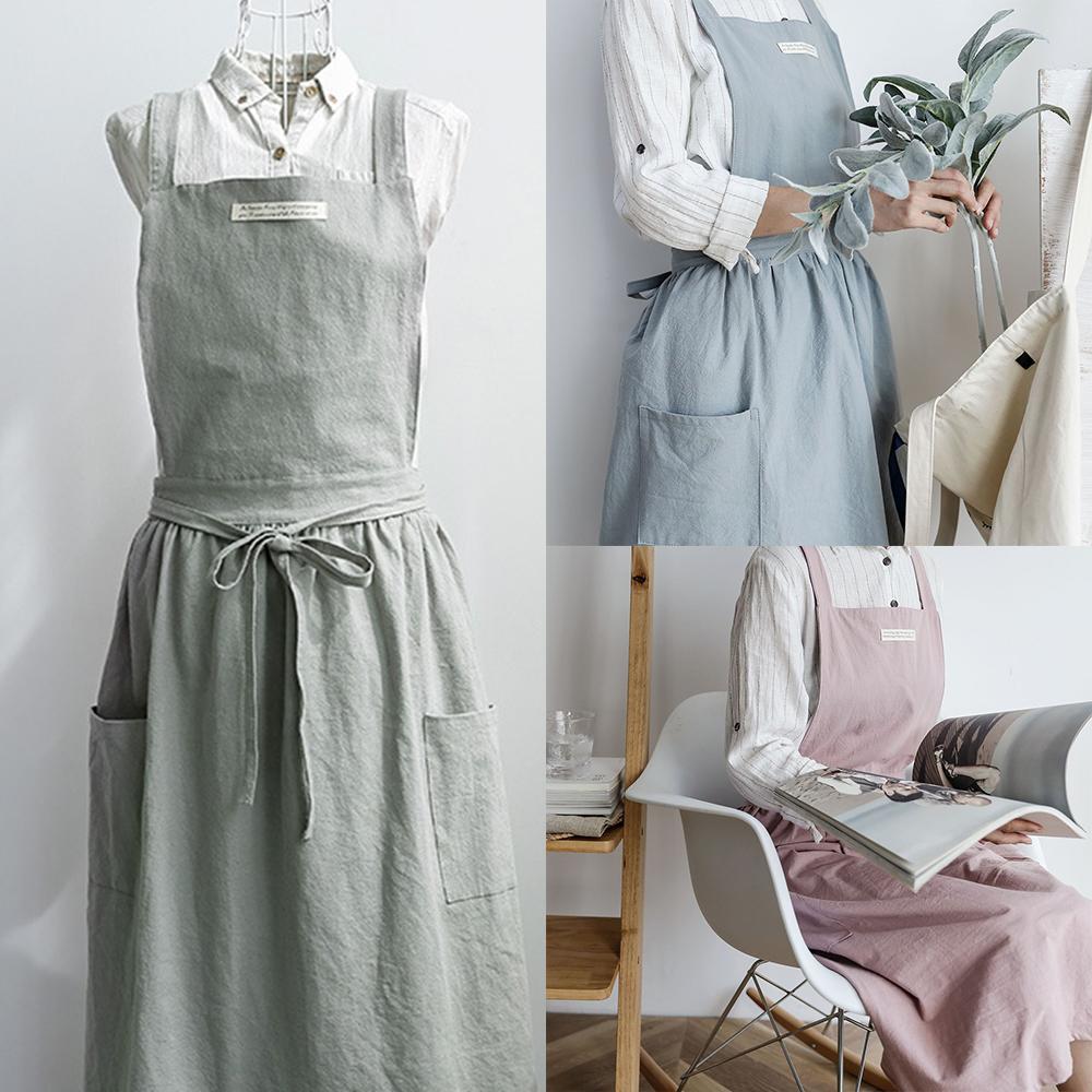 b8620ce20b Fashion Women Bib Apron Cotton Linen Sleeveless Pinafore Dress Home ...