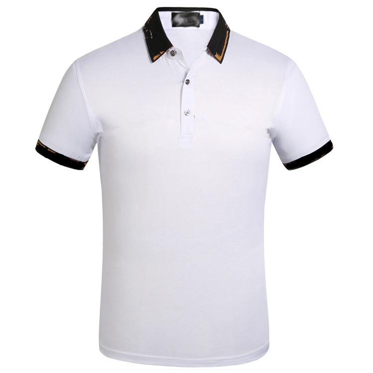 Mens Luxury Designer Polo Shirts Summer Business Polos Turn Down Collar Tees Tops