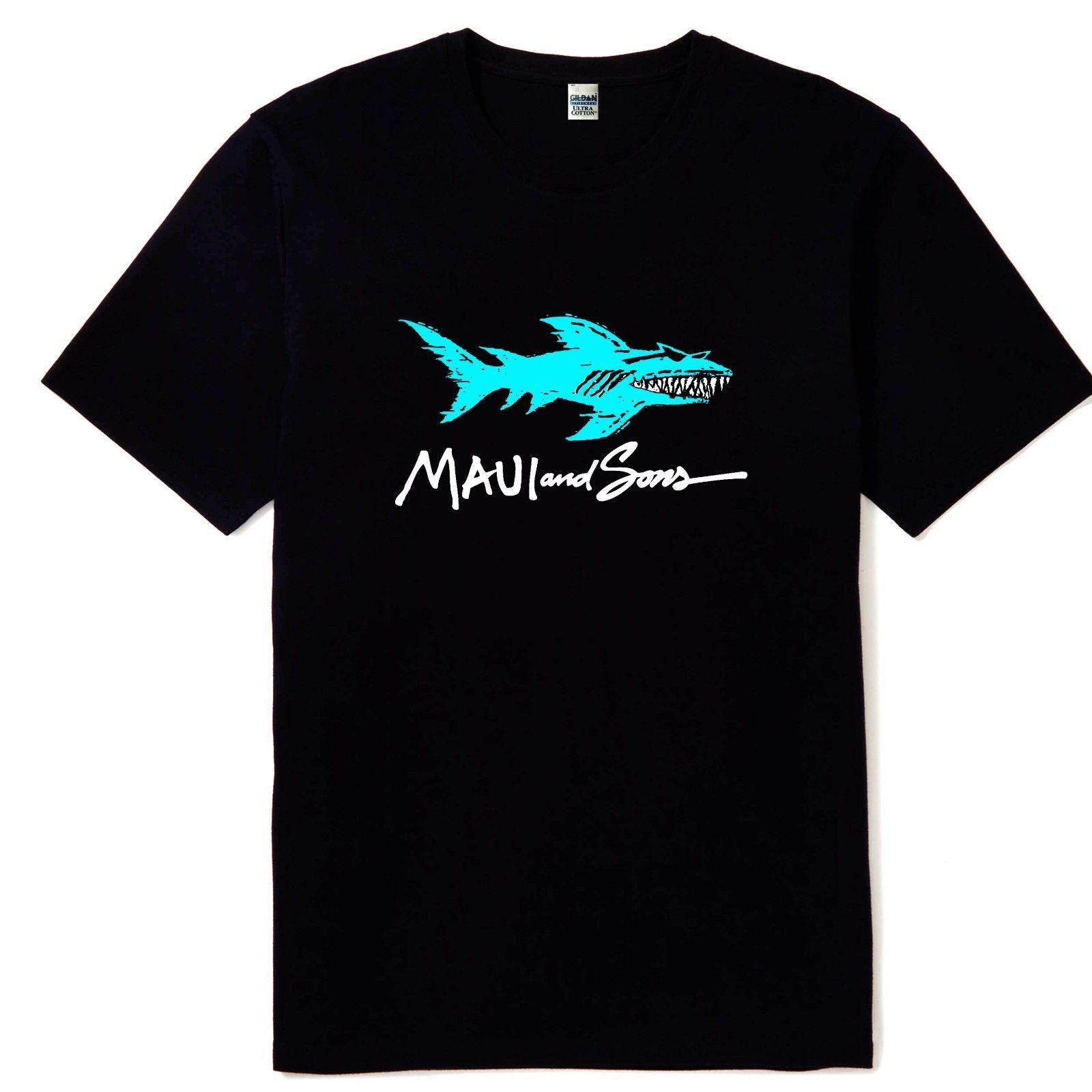 0c20789cd Compre Nuevo Maui And Sons Shark Logo Hombre Color Negro Camiseta Tallas S  M L XL 2XL Reimpresión A $11.58 Del Cheaptshirts48 | DHgate.Com