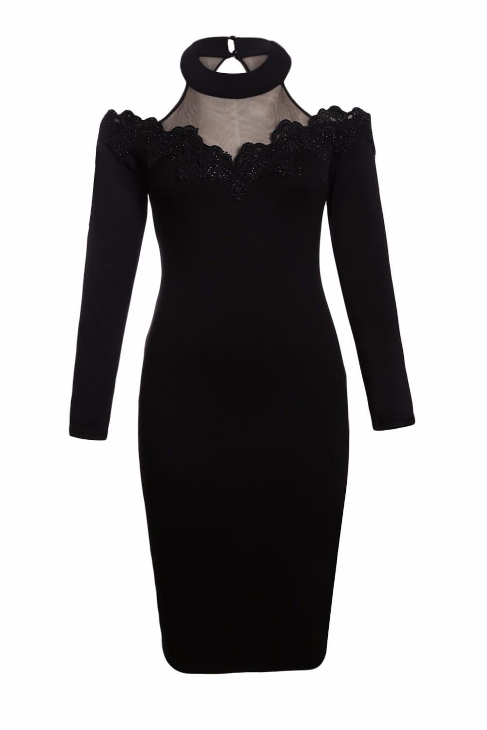 ce296ac3f Vestido de Fiesta de Manga Larga de Las Mujeres Elegante Negro Crochet  Applique Malla Insertar Hollow Out Cold Hombro Midi Vestido Lc61894